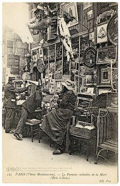 Flea Market Stall in Montmartre, c. Vintage Pictures, Old Pictures, Old Photos, Antique Photos, Paris 1900, Paris France, Belle Epoque, I Love Paris, Paris Photography