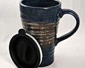 Ceramic Travel Mug with lid. $24.00, via Etsy.