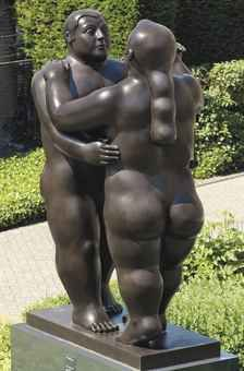 Fernando Botero (Colombian b. 1932) Dancers signed, dated and numbered 'Botero, 2000, 1/3' and stamped with a foundry mark (on the base) Bronze with dark brown patina 102 x 65 x 47 in. (259.1 x 165.1 x 119.4 cm.) Executed in 2000. Edition one of three. Estimate $700,00-1,000,000 Sold 1,143750 Christies May 2013