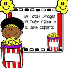 Afroamerican Children Movie Themed Cliparts for Personal a
