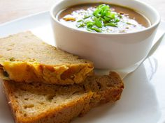 Soup of the Day with #cheddar chive #Guinness bread at Fado Irish Pub ...