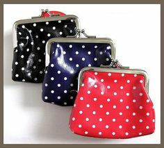1pc Cute Polka Dot plastic coated fabric snap coin purse bag red blue or black