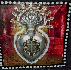 Original Sacred Ex Voto Flaming Heart by SacredYoliDesigns on Etsy, $45.00