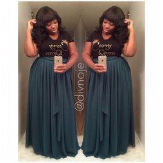 Chiffon Maxi Skirt. 🎀 . . . . . . . . _____________________________________________________ #divnoje #allsmiles #psfashion #curvygirl #cns2 #celebratemysize #faceyourcurves #honormycurves #fullfiguredfashion #bbbg #allthingsfiery #curves #boldncurvy #fashionforwardplus #thick #alwaysalday #confident #legsfordays #givemebody #fullfigured #flauntyourcurves #caligirl