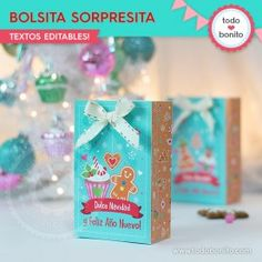 Dulce Navidad: bolsa sorpresita para imprimir Gift Wrapping, Christmas, Gifts, Goodies, Sweet Treats, Wine Tags, Gift Wrapping Paper, Xmas, Presents