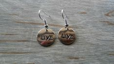 Live Earrings, Round Earrings, Circle Earrings, Fashion Jewelry, Gifts for Her, Women's Jewelry, Gifts for Teens, Costume Jewelry, Charms