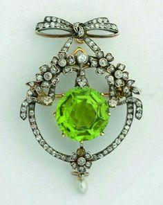 Belle Epoque Diamond And Peridot Brooch, circa 1900