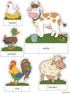 Apprendre les noms des animaux de la ferme en les découpant Animal Activities, Preschool Activities, Farm Crafts, Animal Crafts For Kids, Extinct Animals, Farm Theme, Animal Facts, Early Childhood Education, Paper Toys