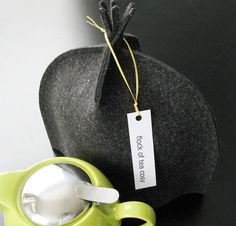 Another of these lovely, sleek tea cozies - this one in grey flannel wool.