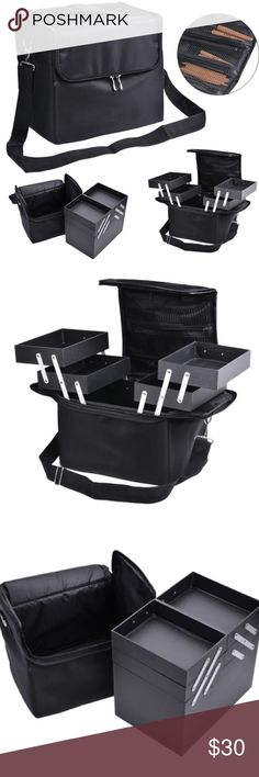 Black Soft Sided Makeup Case Black soft sided makeup case with removable organizers. Nylon case measures approximately  10.5 x 7.0 x 9.4'' and features a handle on top, and a detachable carrying strap.  Double zipper closure. Removable plastic organizer has a deep inner compartment with two pull out drawers on each side. Recently purchased and used for storage only. Photo 4 is actual case, products are not included. Sephora Makeup Brushes & Tools