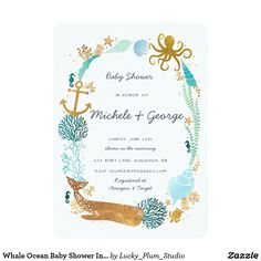 Whale Ocean Baby Shower Invitation