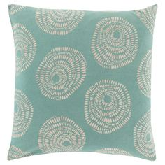 Add a pop of pattern to your sofa or loveseat with this eye-catching cotton pillow, showcasing a medallion-inspired motif in teal.