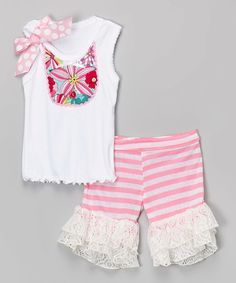 Another great find on #zulily! Pink Floral Bib Tank & Ruffle Shorts - Infant, Toddler & Girls #zulilyfinds