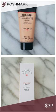 Laura Geller Spackle Neutralizer Primer Spackle Neutralizer color-correcting tinted under makeup primer. Lightweight, silicone-based formula perfects skin's texture so makeup glides on. Subtle peach undertones neutralize skin imperfections and uneven complexion. Oil-free and paraben-free, with aloe vera, marigold and mallow flower extracts. 2 fl. oz. New in package. Laura Geller  Makeup Face Primer