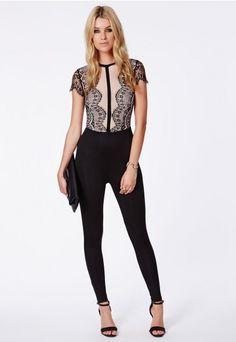 cd5e2a9d2d Calla Lace Panel Jumpsuit - Lace Jumpsuits - Missguided Missguided Jumpsuit