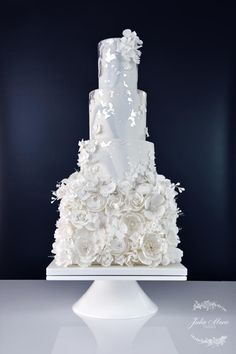 All in White Wedding Cake by Julia Marie Cakes - http://cakesdecor.com/cakes/262387-all-in-white-wedding-cake