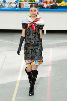 AGH! love it!  dressing like an 8 year old has always been my rage. love the girl scout scarf! Chanel F/W 2014