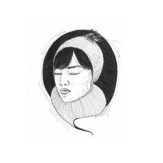 IRL No. 2   ink drawing   by somaramos    #ink #drawing #illustration #beanie #scarf #pen #brush #bangs #portrait #somaramos
