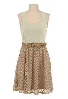 30d55f215d77 Belted Lace Skirt Tank Dress - maurices.com Lace Skirt