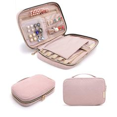 BAGSMART Travel Jewelry Storage Cases Jewelry Organizer Bag for Necklace, Earrings, Rings, Bracelet, Pink Dimension: x x Portable size Clean Gold Jewelry, Jewelry Roll, Jewelry Case, Jewelry Holder, Necklace Holder, Jewelry Travel Case, Jewelry Pouches, Women's Jewelry, Leather Jewelry