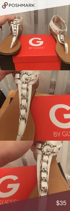 ❤️ Guess Sandals ❤️ ❤️ Guess ❤️ Sandals ❤️ White with silver hardware ❤️ Size 7 ❤️ Trade value: $60 ❤️ G by Guess Shoes Sandals
