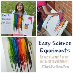 Easy Science projects for kids, melting crayons with a blow dryer craft project, low cost science projects, popular ideas for a school science fair 1st Grade Science Fair, First Grade Science Projects, Easy Science Fair Projects, Science Fair Experiments, Kindergarten Science, Science Lessons, Science For Kids, School Projects, Classroom Projects