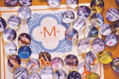 marble magnets: little pictures, maps, and words glued to marbles...magnet affixed to turn them into gifts