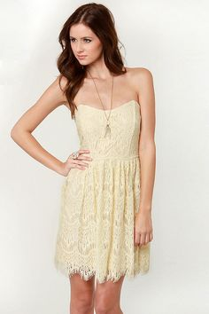 Lovely Strapless Dress - Cream Dress - Lace Dress - $47.00. LOVE it! Would definitely wear with my brown boots!
