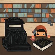 bibliolectors:  In the library: I have enough money? / En la librería: tengo bastante dinero? (ilustración de Seonna Hong)  Quanti soldi ben...
