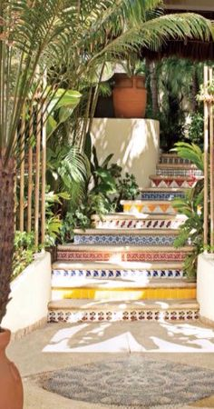 Luxury Outdoor Spaces - Mosaic Tiled Stairs
