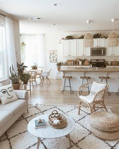 This is what neutral coastal boho dreams are made of ☁️✨ The different textures and neutral shades add warmth and coziness to this brilliantly decorated living room. Do you like neutral palettes or do you prefer adding pops of color? ⠀⠀ photo by Living Room Trends, Living Room Inspiration, Rugs In Living Room, Home Decor Inspiration, Home And Living, Living Room Decor, Living Spaces, Bedroom Decor, Decor Ideas