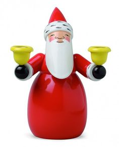 Wendt & Kühn Santa with Candle Holders  5301/3 Height 10 cm / 4.0 inch, not available in the USA
