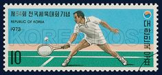 Postage Stamps to Commemorate the 54th National Athletic Meet, Tennis, Sports, light blue, Green, white, 1973 10 12, 제54회 전국체육대회 기념, 1973년 10월 12일, 862, 테니스, postage 우표
