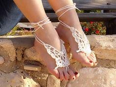 Crochet  Barefoot Sandals, wedding barefoot sandles, bridal CREAME Butterfly, Ivory, barefoot sandals