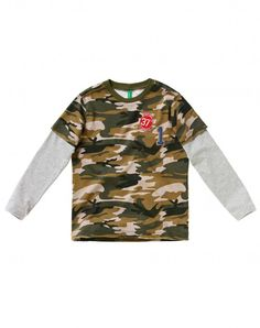 Camouflage t-shirt Green - Boys | Benetton
