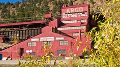 The big red historic Argue Gold Min in Idaho Springs, CO