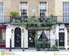Sherlock Holmes house and museum in 221b Baker Street, London Editorial Stock Photo