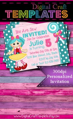 Personalized Printable Invitations | You're Sew Invited 1 | Birthday Party |  #137