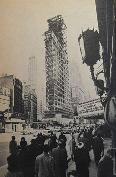 New York City, Times Square 1964. The Times Tower Being Rebuilt.