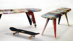 http://www.homedit.com/unique-deck-stools-and-deckbenches-made-of-recycled-skateboards/