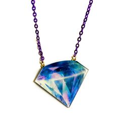 Galaxy Diamond Necklace, Space, Universe Pattern, Nebula, Purple Blue... (€24) ❤ liked on Polyvore featuring jewelry, necklaces, diamond star necklace, stone necklace, planet necklace, diamond chain necklace and purple stone necklace