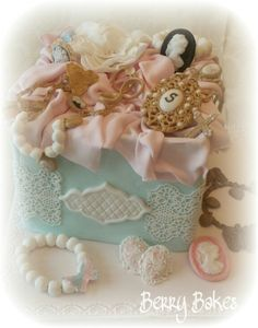 Vintage Jewellery Box Cake, with fondant jewellery by Berry Bake's