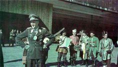 "Send-off celebration for Luftwaffe ace Major Adolf Dickfeld as he leaves II.Gruppe / Jagdgeschwader 11 (JG 11) to take up his new post as a ""General für Führernachwuchs im Reichs-Luftfahrt"