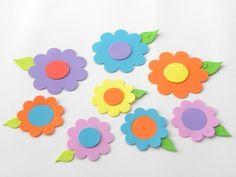 50 flores para painel modelo 5 com folha - tamanho 6 e 8 cm www.petilola.com.br