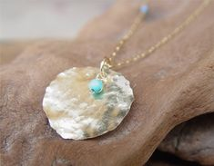 Large Gold Disc Necklace - Select Your Birthstone , 14K Gold Filled