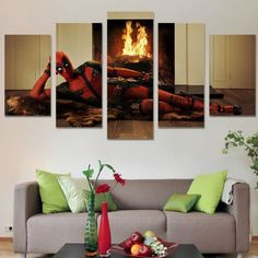 "Deadpool is the new favorite Marvel character of the world! Grab this 5 panel ""Deadpool On Bonfire"" canvas wall art and join the Deadpool craze! We offer free shipping and professional packaging on this product. This wall art is printed on good quality canvas using bold ink to make it more realistic. It can be easily installed on any frames and you can hang it at any part of your home."