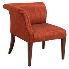 """Upholstered corner chair with rolled arm detail and a plantation grown hardwood frame.   Product: ChairConstruction Material: Plantation grown hardwoods and imported fabricColor: Dark brown and redFeatures:  Corner styling Dimensions: 42.5"""" H x 39"""" W x 25"""" DCleaning and Care: Wipe with damp cloth"""