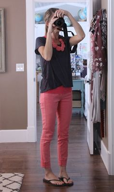 Pink pants with neutral top and sandals.  I really like this!