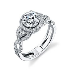 vintage inspired wedding rings   Vintage-Style Simon G. Halo Engagement Ring with Micro Pave (Photo ...