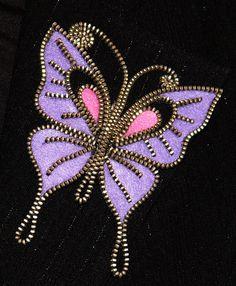 Purple Butterfly designer zipper and felt handmade by 3latna, $22.00